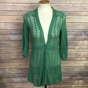Anthropologie Guinevere Green Knit Cardigan Size S